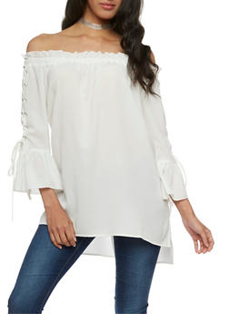 Off the Shoulder Tunic Top with Lace Up Sleeves - IVORY - 3401062705411