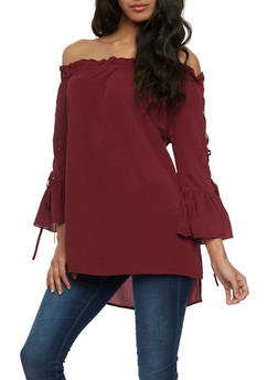 Off the Shoulder Tunic Top with Lace Up Sleeves - BURGUNDY - 3401062705411