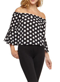 Off the Shoulder Polka Dot Top with Flare Sleeves - BLACK - 3401062705418