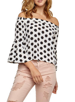 Off the Shoulder Polka Dot Top with Flare Sleeves - WHITE - 3401062705418
