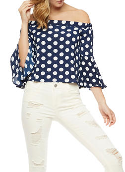Off the Shoulder Polka Dot Top with Flare Sleeves - 3401062705418