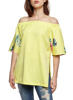 Off the Shoulder Top with Floral Printed Sleeves - 3401062705421