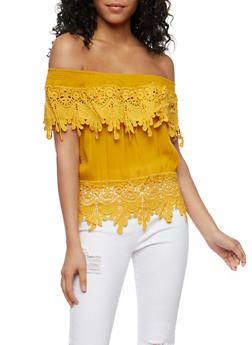 Off the Shoulder Top with Crochet Trim - 3401062706358