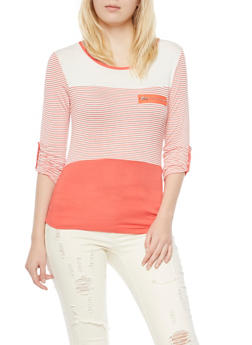 Striped Top with Scoop Neck and Zip Accent - 3401062706435