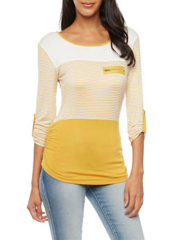 Striped Top with Scoop Neck and Zip Accent - MUSTARD - 3401062706435