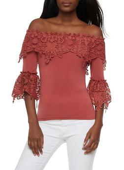 Off the Shoulder Crochet Trim Top - 3401062706507
