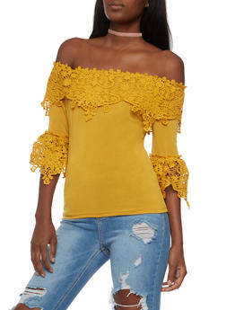 Off the Shoulder Crochet Trim Top - 3401062706507