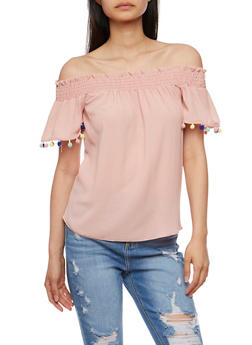 Off the Shoulder Peasant Top with Pom Pom Trim - 3401065622006