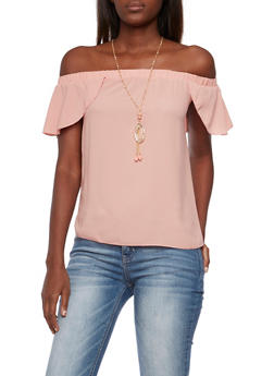 Off The Shoulder Flutter Top with Removable Necklace - 3401065623524