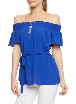 Off the Shoulder Belted Top with Necklace - 3401065623546