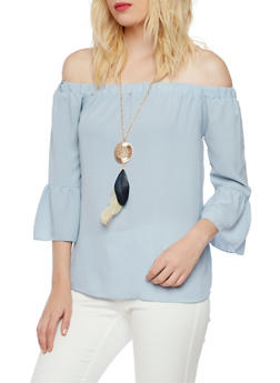 Off the Shoulder Top with Removable Necklace - 3401065623554