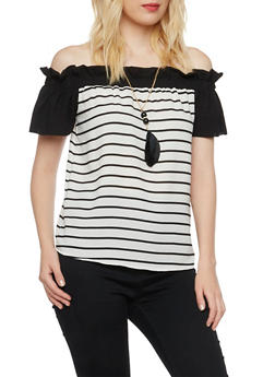 Striped Off the Shoulder Top with Removable Necklace - 3401065623560