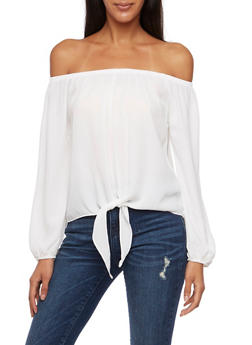 Off the Shoulder Crop Top with Tie Front - 3401065623566