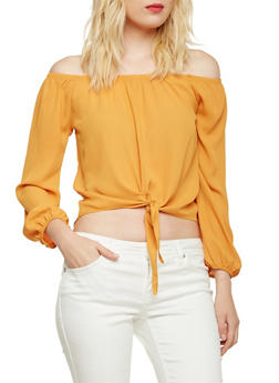 Off the Shoulder Crop Top with Tie Front - GOLD - 3401065623566