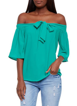 Crepe Off the Shoulder Top with Bow Tie Detail - 3401065623628