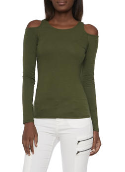 Cold Shoulder Top with Long Sleeves - 3401066498271