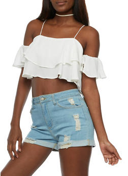 Cold Shoulder Ruffled Crop Top - WHITE - 3401068191525
