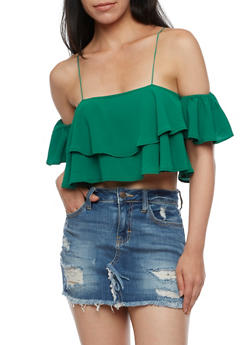 Cold Shoulder Ruffled Crop Top - 3401068191525