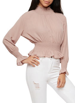 Smocked Neck Cinched Waist Top - DUSTY PURPLE - 3401068191754