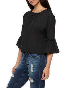 Tie Back Bell Sleeve Top - 3401068191756