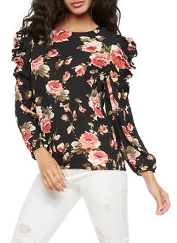 Floral Ruffle Long Sleeve Top - 3401068191810