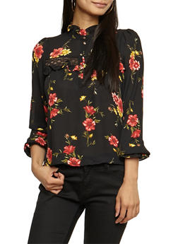 Lace Trim Floral Ruffled Long Sleeve Top - 3401068191811