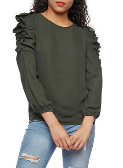 Ruched Long Sleeve Top - 3401068192153