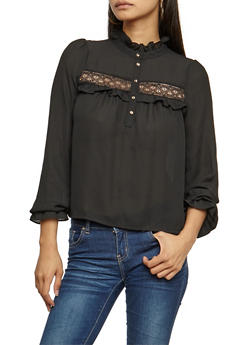 Lace Trim Ruffled Long Sleeve Top - 3401068192173