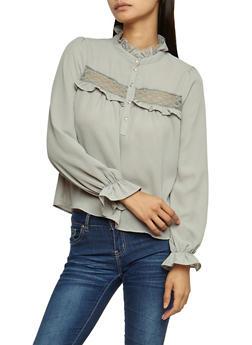 Lace Trim Ruffled Long Sleeve Top - 3401068192173
