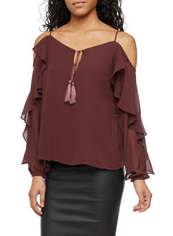 Long Sleeve Cold Shoulder Top with Ruffle Detail - 3401068192176