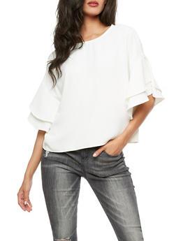 Ruffled Sleeve Blouse - WHITE - 3401068192178