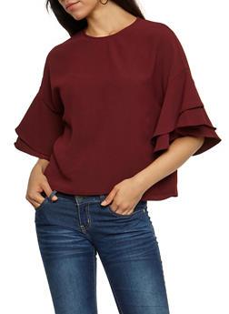 Ruffled Sleeve Blouse - 3401068192178