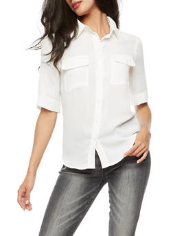 Roll Up Sleeve Button Front Top - WHITE - 3401068192191