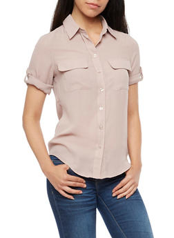 Roll Up Sleeve Button Front Top - 3401068192191