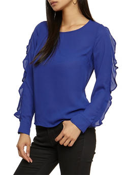 Ruffled Long Sleeve Blouse - 3401068192205