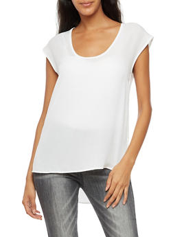 V Neck High Low Top - WHITE - 3401068192227