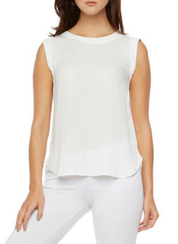 Sleeveless Chiffon Top with Scoop Neck - WHITE - 3401068193516