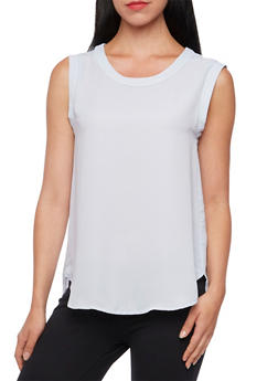 Sleeveless Chiffon Top with Scoop Neck - 3401068193516