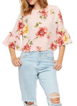 Floral Bell Sleeve Top - 3401068198085