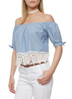 Off the Shoulder Chambray Top with Crochet Hem - 3401069390127