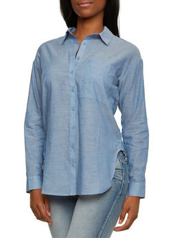 Oversized Shirt with Button Detail - 3401069390506