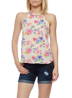 Floral Crepe Knit Tank Top - 3401069390536
