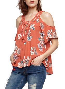 Cold Shoulder Floral Lace Up Crepe Knit Top - 3401069390834