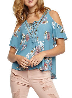 Cold Shoulder Floral Lace Up Crepe Knit Top - 3401069390834