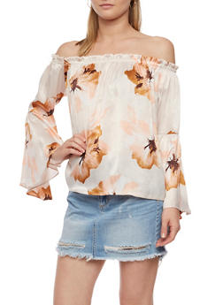Floral Off the Shoulder Bell Sleeve Top - 3401069390919