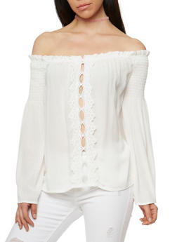 Off the Shoulder Long Sleeve Top with Crochet Trim - WHITE - 3401069390920