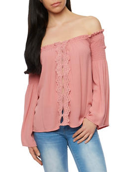 Off the Shoulder Long Sleeve Top with Crochet Trim - 3401069390920
