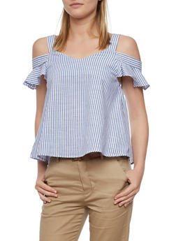 Striped Cold Shoulder Top with Flutter Sleeves - 3401069390946