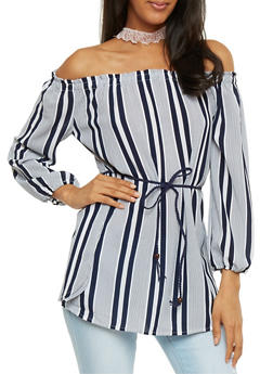 Striped Off the Shoulder Belted Tunic Top - 3401069390959