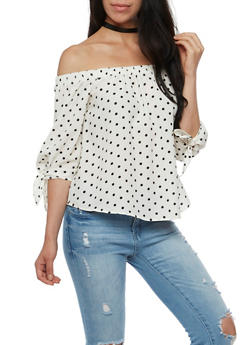 Polka Dot Off the Shoulder Top - 3401069390971